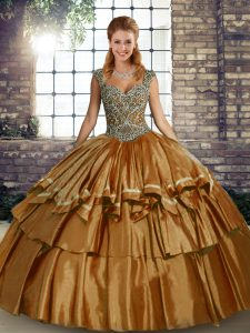 Eye-catching Brown Sleeveless Taffeta Lace Up 15th Birthday Dress for Military Ball and Sweet 16 and Quinceanera