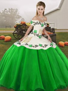 Gorgeous Embroidery Quinceanera Gown Green Lace Up Sleeveless Floor Length