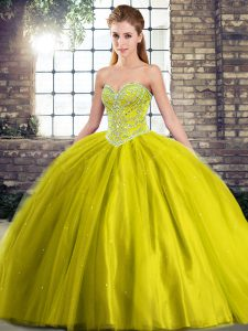 Captivating Olive Green Sleeveless Beading Lace Up Ball Gown Prom Dress