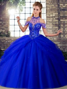 Royal Blue Sleeveless Tulle Brush Train Lace Up Quinceanera Dress for Military Ball and Sweet 16 and Quinceanera