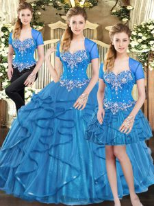 Cheap Sweetheart Sleeveless Tulle Quince Ball Gowns Beading and Ruffles Lace Up