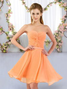 Mini Length Empire Sleeveless Orange Quinceanera Court of Honor Dress Lace Up