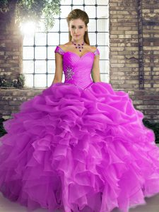 Lilac Ball Gowns Organza Off The Shoulder Sleeveless Beading and Ruffles and Pick Ups Floor Length Lace Up Quinceanera Gowns