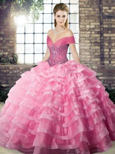 Beading and Ruffled Layers 15th Birthday Dress Rose Pink Lace Up Sleeveless Brush Train