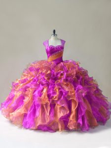 Super Straps Sleeveless Sweet 16 Quinceanera Dress Beading and Ruffles Multi-color Organza