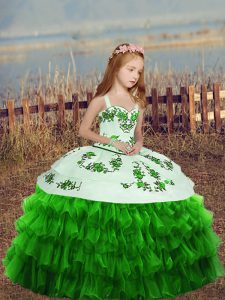 Organza Sleeveless Floor Length Pageant Dress for Teens and Embroidery and Ruffled Layers