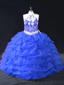 Charming Blue Backless Halter Top Beading and Appliques Sweet 16 Dress Organza Sleeveless
