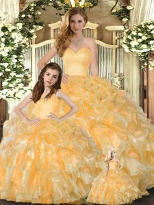 Gold Sweetheart Neckline Beading and Ruffles Quince Ball Gowns Sleeveless Lace Up