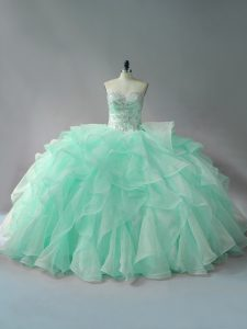 Admirable Apple Green Ball Gown Prom Dress Sweetheart Sleeveless Court Train Lace Up