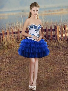 Royal Blue Sweetheart Neckline Embroidery and Ruffled Layers Prom Evening Gown Sleeveless Lace Up