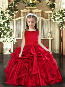 Trendy Organza Scoop Sleeveless Lace Up Ruffles Pageant Dress for Girls in Red