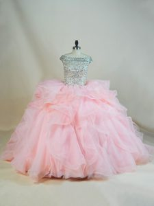 Dazzling Pink Ball Gown Prom Dress Sweet 16 and Quinceanera with Beading and Ruffles Off The Shoulder Sleeveless Brush Train Lace Up