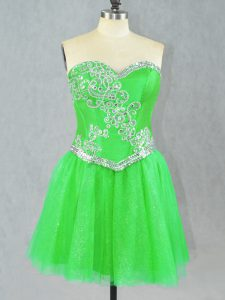Ideal Green Sleeveless Tulle Lace Up Celebrity Style Dress for Prom and Party