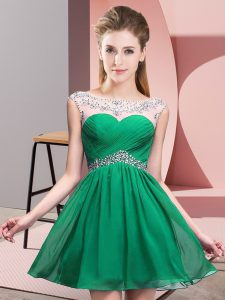 Turquoise Scoop Neckline Beading and Ruching Celebrity Evening Dresses Sleeveless Backless