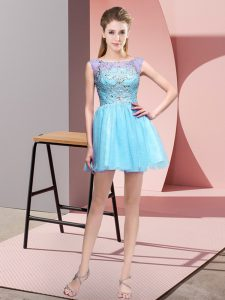 Custom Design Sleeveless Mini Length Beading Zipper Homecoming Dresses with Baby Blue