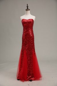 Red Sleeveless Floor Length Sequins Zipper Juniors Evening Dress