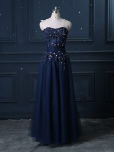 Sleeveless Floor Length Lace Zipper Dress for Prom with Navy Blue
