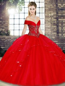 Red Off The Shoulder Neckline Beading and Ruffles Quinceanera Dress Sleeveless Lace Up