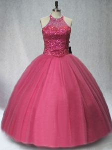 Ball Gowns Quinceanera Dress Red Halter Top Tulle Sleeveless Floor Length Lace Up