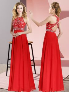 Fashionable Floor Length Red Prom Party Dress Chiffon Sleeveless Beading