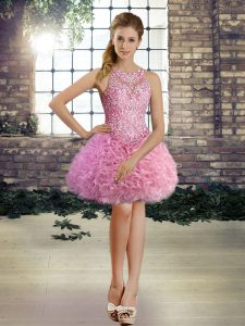 Rose Pink Sleeveless Mini Length Beading Lace Up Dress for Prom
