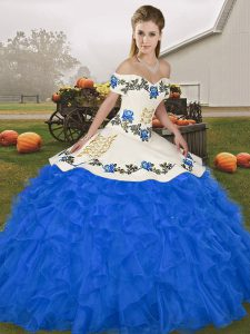Free and Easy Sleeveless Embroidery and Ruffles Lace Up Vestidos de Quinceanera