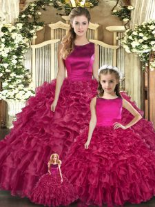 Floor Length Lace Up Quince Ball Gowns Fuchsia for Military Ball and Sweet 16 and Quinceanera with Ruffles