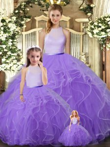 Fashionable Lavender High-neck Backless Ruffles Quinceanera Gown Sleeveless