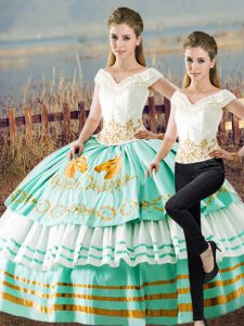 Satin and Organza V-neck Sleeveless Lace Up Embroidery and Ruffled Layers Quinceanera Dresses in Apple Green