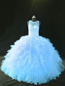 Organza Sleeveless Quinceanera Dresses and Appliques and Ruffles
