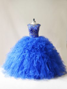 Scoop Sleeveless Tulle Ball Gown Prom Dress Beading and Ruffles Lace Up