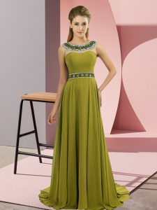 Olive Green Prom Homecoming Dress Chiffon Brush Train Sleeveless Beading