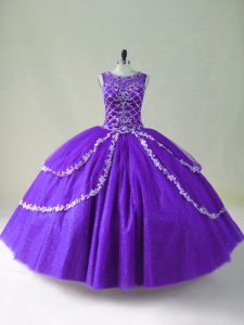 Ball Gowns Ball Gown Prom Dress Purple Scoop Tulle Sleeveless Floor Length Zipper