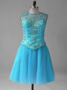 Aqua Blue Sleeveless Beading and Sequins Mini Length