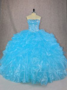 Affordable Blue Lace Up Strapless Beading and Ruffles Ball Gown Prom Dress Organza Sleeveless