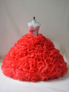 Fabric With Rolling Flowers Sweetheart Sleeveless Court Train Lace Up Beading and Ruffles Quinceanera Gowns in Red