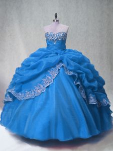 Floor Length Ball Gowns Sleeveless Blue 15 Quinceanera Dress Lace Up