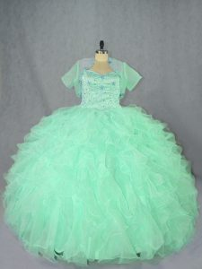Charming Apple Green Sleeveless Organza Lace Up Vestidos de Quinceanera for Sweet 16 and Quinceanera