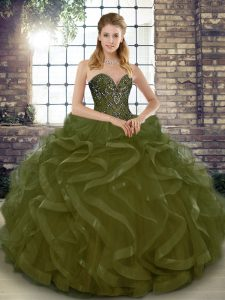 Admirable Olive Green Ball Gowns Beading and Ruffles 15 Quinceanera Dress Lace Up Tulle Sleeveless Floor Length