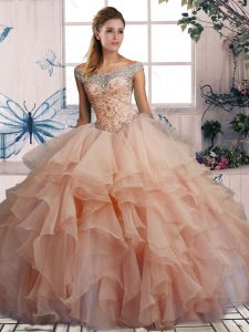 Pink Organza Lace Up Off The Shoulder Sleeveless Floor Length Sweet 16 Dresses Beading and Ruffles