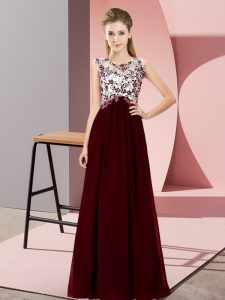 Suitable Scoop Sleeveless Zipper Court Dresses for Sweet 16 Burgundy Chiffon