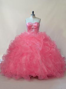Customized Coral Red Ball Gowns Organza Sweetheart Sleeveless Beading and Ruffles Floor Length Lace Up Quinceanera Gowns