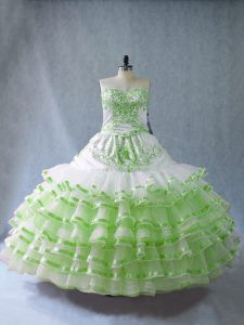 Custom Design Sleeveless Embroidery and Ruffled Layers and Bowknot Floor Length Quinceanera Dress