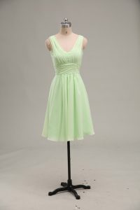 Sleeveless Mini Length Ruching Zipper Prom Gown with Yellow Green