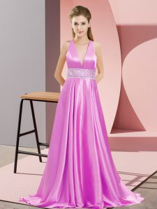 Lilac Empire Elastic Woven Satin V-neck Sleeveless Beading Backless Celebrity Dresses Brush Train