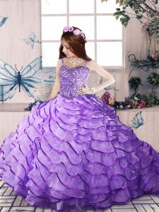 Sleeveless Beading and Ruffled Layers Lace Up Pageant Dress Wholesale with Lavender Brush Train