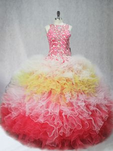 Tulle Sleeveless Floor Length 15 Quinceanera Dress and Beading and Ruffles