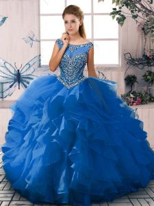 Sweet Blue Sleeveless Beading and Ruffles Floor Length Sweet 16 Quinceanera Dress