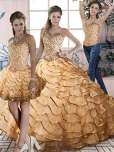 Three Pieces Sleeveless Gold Quince Ball Gowns Brush Train Lace Up