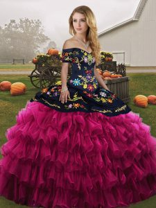 Off The Shoulder Sleeveless Quinceanera Dress Floor Length Embroidery and Ruffled Layers Fuchsia Organza